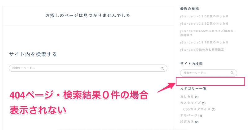 コンテンツの無いページではウィジェットが表示されないようになっている