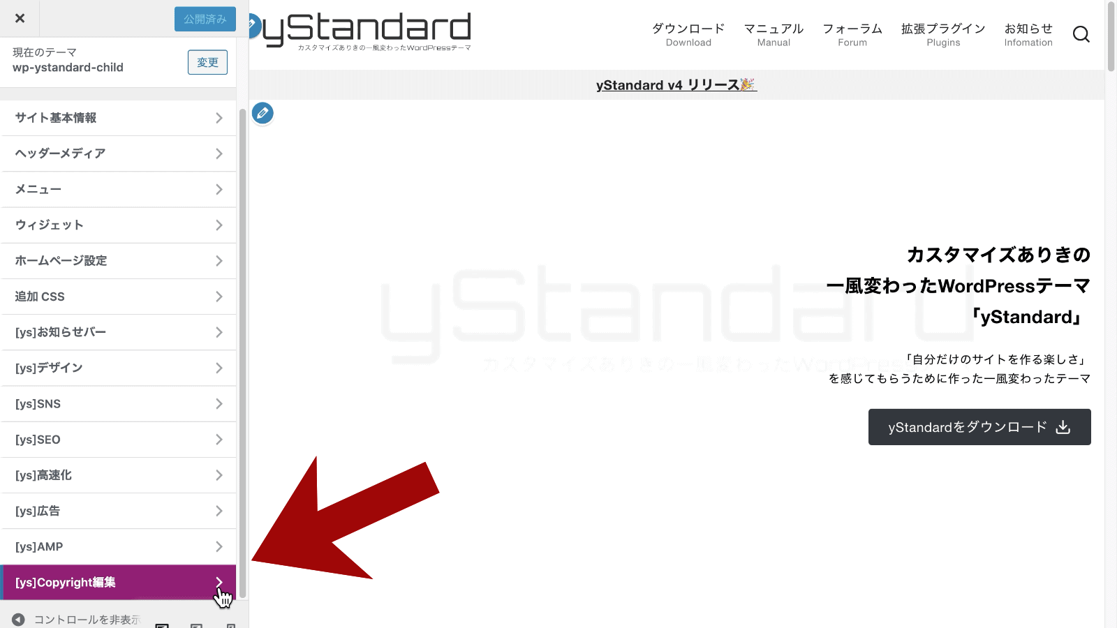 yStandard Copyright Customizerの設定画面